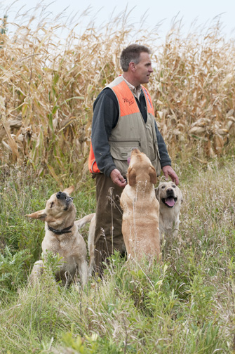 Kent Hintermeister with his labs